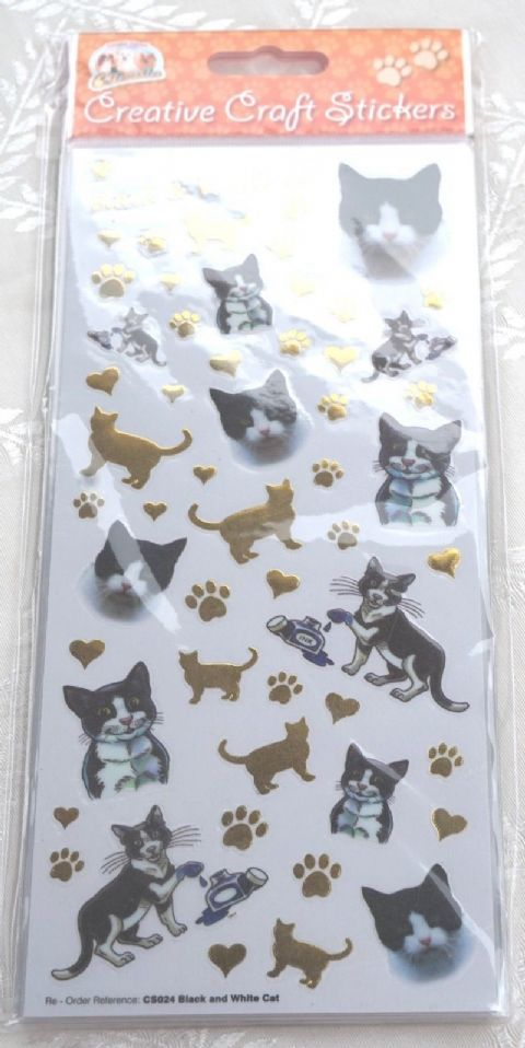 CAT - BLACK & WHITE CAT -CRAFT STICKERS  FOR SCRAPBOOKING, CARD CRAFT ETC